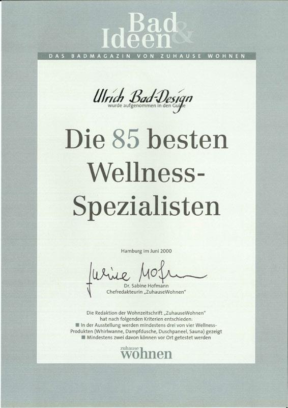 """Auszeichnung """"Die 85 bestens Wellness-Spezialisten"""" 2000"""