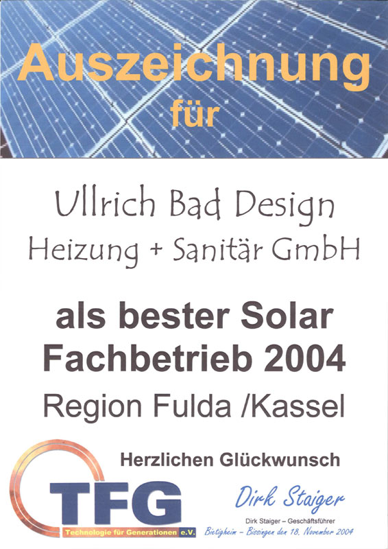 Auszeichnung als bester Solar Fachbetrieb 2004