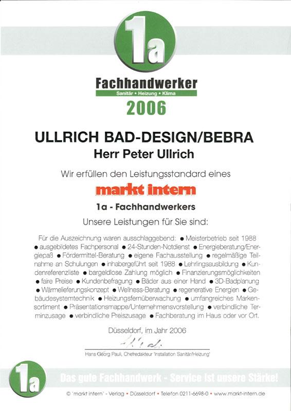 Auszeichnung zum 1a Fachhandwerker Installation/Sanitär/Heizung 2006