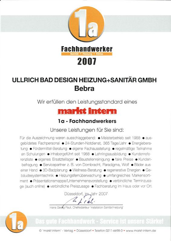 Auszeichnung zum 1a Fachhandwerker Installation/Sanitär/Heizung 2007
