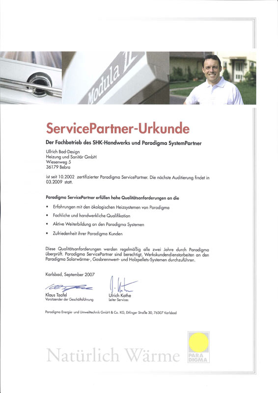 Auszeichnung zum Servicepartner Paradigma 2007