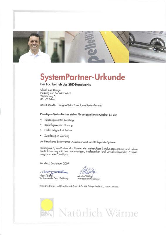 Auszeichnung zum Systempartner Paradigma 2007
