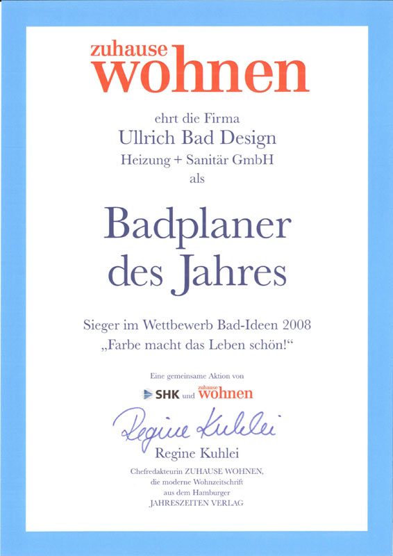Auszeichnung zum Badplaner des Jahres 2008