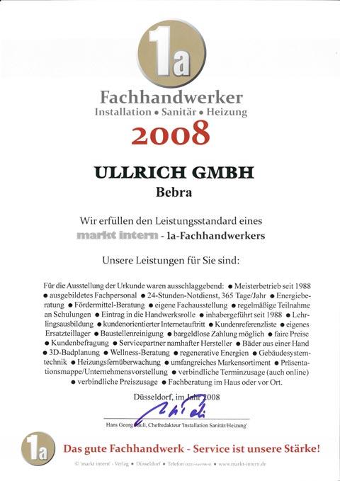 Auszeichnung zum 1a Fachhandwerker Installation/Sanitär/Heizung 2008
