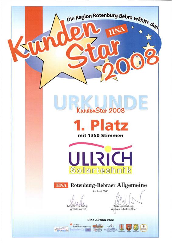Auszeichnung zum Kundenstar der Region Rotenburg-Bebra 2008