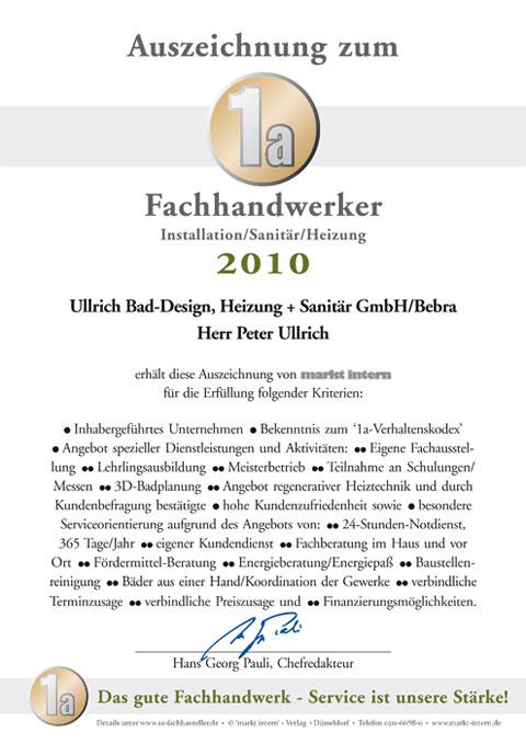 Auszeichnung zum 1a Fachhandwerker Installation/Sanitär/Heizung 2010