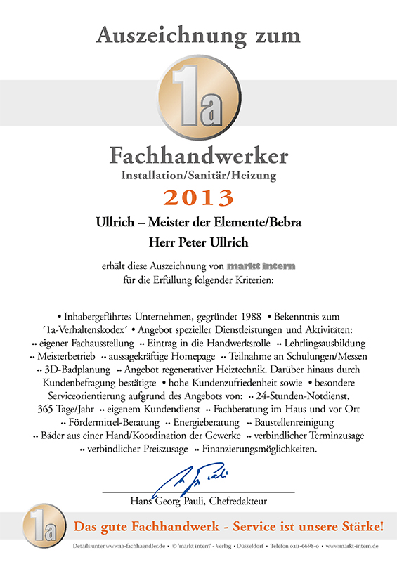 Auszeichnung zum 1a Fachhandwerker Installation/Sanitär/Heizung 2013